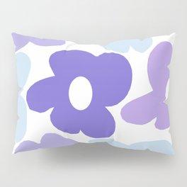 Large Purple Retro Flowers White Background #decor #society6 #buyart Pillow Sham