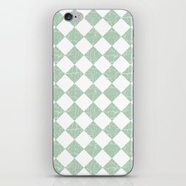 Rustic Farmhouse Checkers in Sage Green and White iPhone Skin