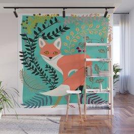 Woodsy Folk Art Fox Wall Mural