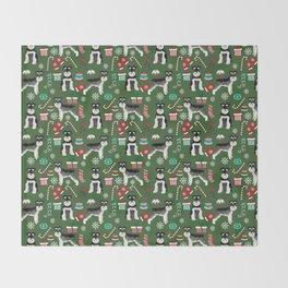 Black and silver schnauzer christmas print holiday xmas design Throw Blanket