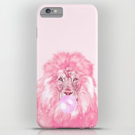 Lion Chewing Bubble Gum in Pink iPhone Case