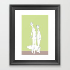 two girls and a dog Framed Art Print