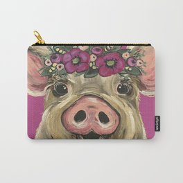 Cute colorful Pig art, Pig with Flower Crown Art Carry-All Pouch