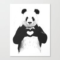 panda Canvas Prints featuring All you need is love by Balazs Solti