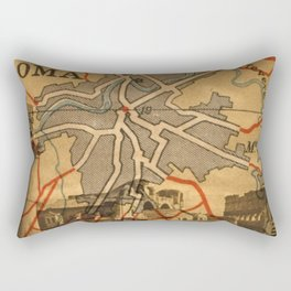 Vintage Made Modern: Italian Map collaged with Historic Sites Rectangular Pillow