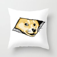 doge Throw Pillows featuring Ceiling Doge by Jimiyo