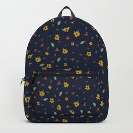 Pencil floral – navy & gold Backpack