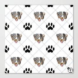 Australian Shepherd Paw Print Pattern Canvas Print