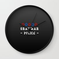 police Wall Clocks featuring Grammar Police by Spooky Dooky