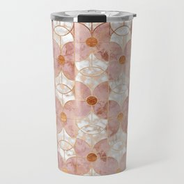 Rose Gold Art Deco Butterfly Pattern Travel Mug