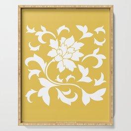 Oriental Flower - Mustard Yellow Serving Tray