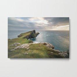 Landscape coastline ocean view Neist Point Scotland Metal Print