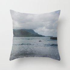 Two Surfers in a Sea - Kauai, Hawaii Throw Pillow