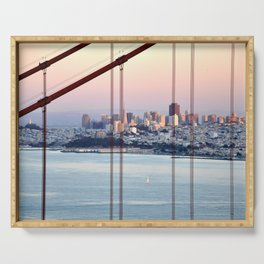 SAN FRANCISCO & GOLDEN GATE BRIDGE AT SUNSET Serving Tray