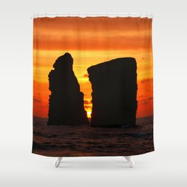 Islets at sunset Shower Curtain