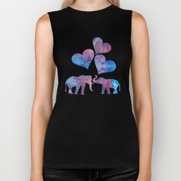 Elephants art Biker Tank