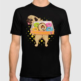 Pug Donut Delivery Cute Chonky Dog Hardworking T-shirt