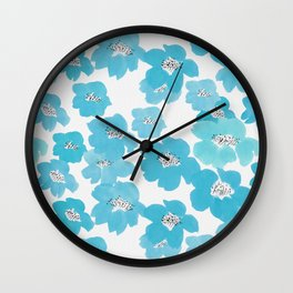 Camellia Flowers in Blue Pattern Wall Clock