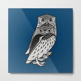 OWLS ON BLUE by Julie De Graag Metal Print