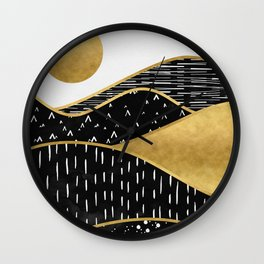 Gold Sun Wall Clock
