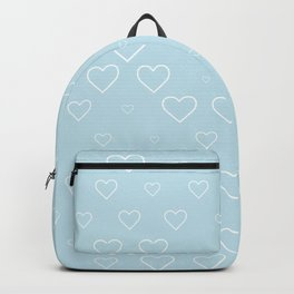 white hears with blue background Backpack