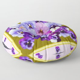 COLORFUL SPRING  PANSIES GARDEN COLLECTION Floor Pillow