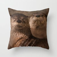 otters Throw Pillows featuring River Otters by Joshua Arlington