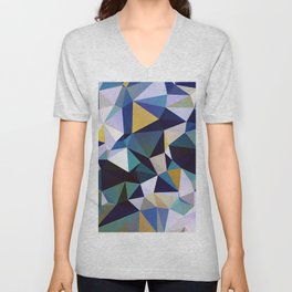 Abstract Geometric Triangle Pattern Unisex V-Neck