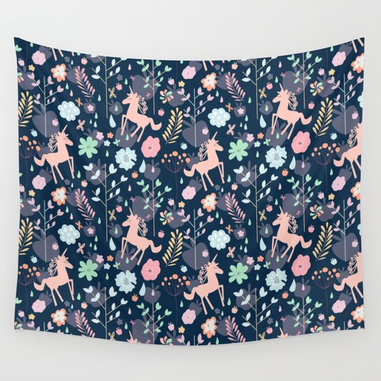 Unicorns in Hesperides Wall Tapestry