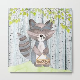 The adorable Racoon - Woodland Friends - Watercolor Illustration Metal Print