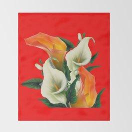 RED & WHITE-ORANGE CALLA LILIES GREY-GOLDEN GARDEN Throw Blanket