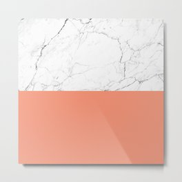 peach marble orange and white marble Metal Print