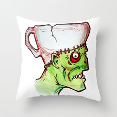 coffee zombie notext Throw Pillow