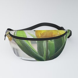 View through Yellow Tulips Fanny Pack