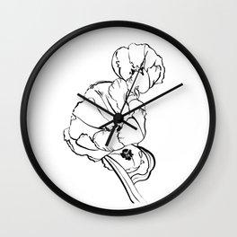 Tulips Ink Drawing Wall Clock
