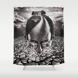 Inhabited Head Grayscale Shower Curtain