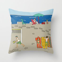 Afternoon at the beach (a) Throw Pillow