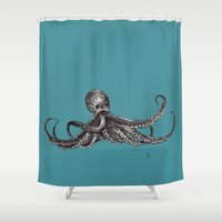octopus Shower Curtains featuring Octopus by Ursula Rodgers