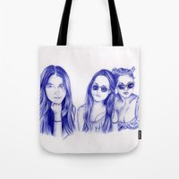 haim Tote Bags featuring Haim Sisters by annelise johnson