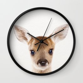 Baby Deer, Baby Animals Art Print By Synplus Wall Clock