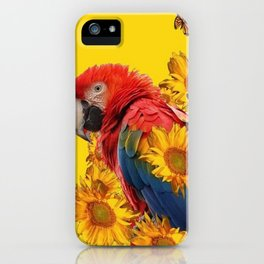 TROPICAL BLUE MACAW & MONARCH BUTTERFLIES SUNFLOWER ART iPhone Case