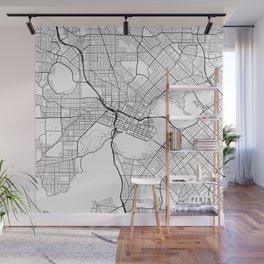 Perth Map, Australia - White  Wall Mural