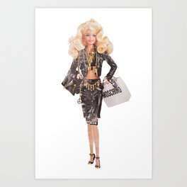 Blonde Barbie Moschino Art Print