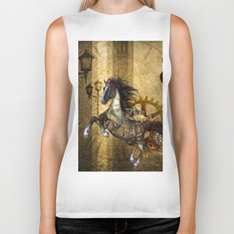 Awesome steampunk horse Biker Tank
