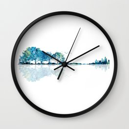 Nature Guitar - Watercolor Blues Wall Clock