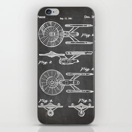 Startrek Uss Enterprise Patent - Trek Art - Black Chalkboard iPhone Skin
