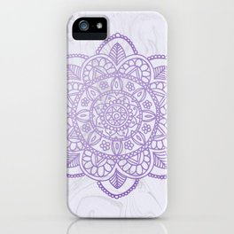 Lavender Mandala on White Marble iPhone Case