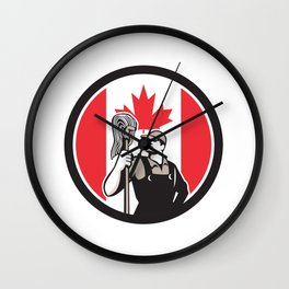 Canadian Industrial Cleaner Canada Flag Icon Wall Clock