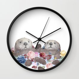 Sea Otters Holding Hands, Love Art Wall Clock