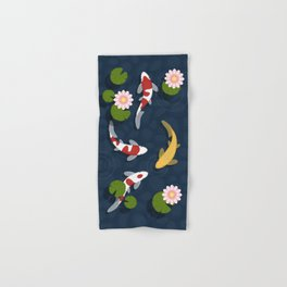 Japanese Koi Fish Pond Hand & Bath Towel